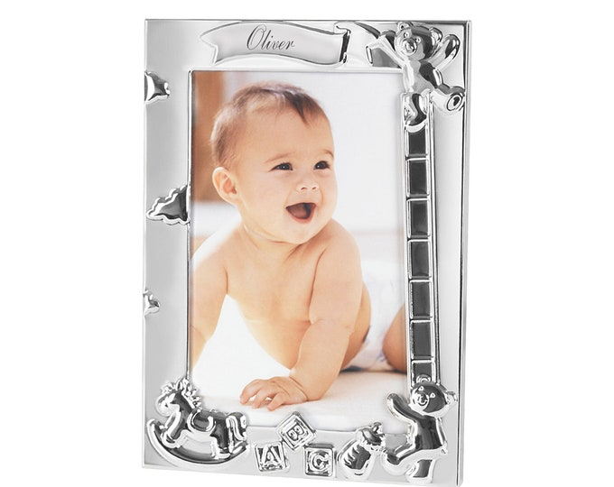 Personalised Silver Plated ABC Baby Photo Frame 18cm x 12.9cm Engraved Name Date