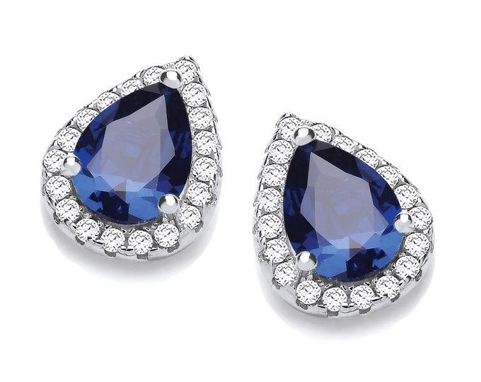 Rhodium Plated Sterling Silver Blue Sapphire Cz Teardrop Cluster Stud Earrings