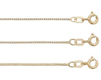 Modern Box Chain 9ct Yellow Gold Hallmarked -Choose the width-Choose the Length
