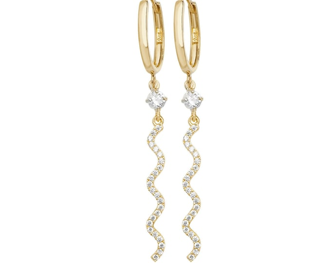 9ct Yellow Gold Hinged Hoop With Cz Pave Wave 4cm Drop Earrings Hallmarked