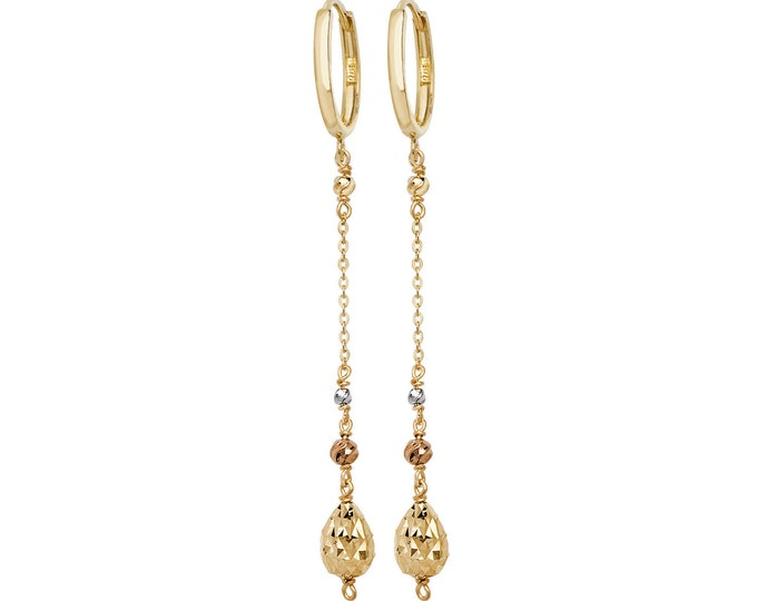 9ct Yellow Gold Hinged Hoop With Faceted Bead Set Chain 4.5cm Drop Earrings Hallmarked