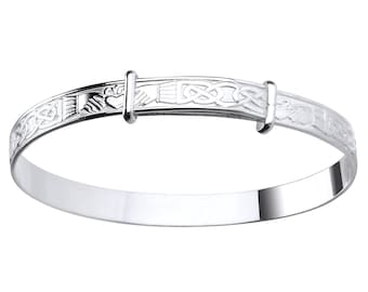 Celtic Irish Claddagh 925 Sterling Silver Expandable Baby Bangle