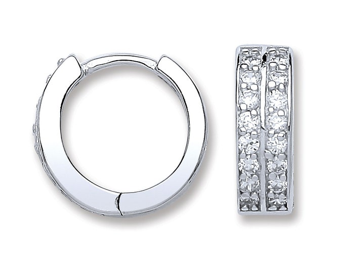 925 Sterling Silver 10mm Diameter 2 Row Cz Hinged Huggies Hoop Earrings