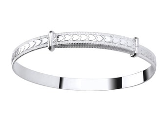 Embossed Hearts 925 Sterling Silver Expandable Baby Bangle