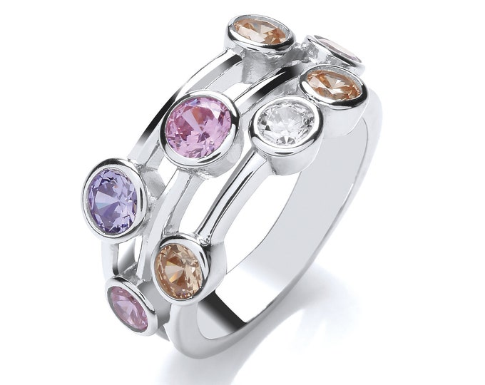 Contemporary 3 Row Rubover Set Multi Colour Cz Ring 925 Sterling Silver