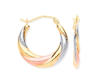 9ct Tri Colour Yellow White Rose Gold 12mm Twisted Creole Hoop Earrings - Real 9K Gold