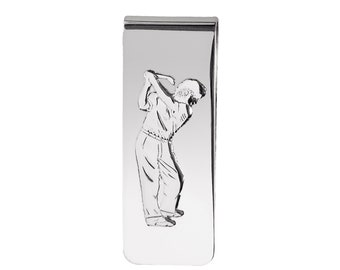 925 Sterling Silver Golfer Money Clip - Personalised Engraved Monogram Initials