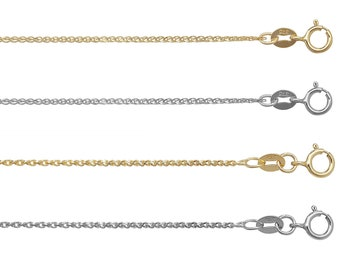 Wheat Chain 9ct Yellow OR White Gold Diamond Cut Single Link  - Choice of Lengths