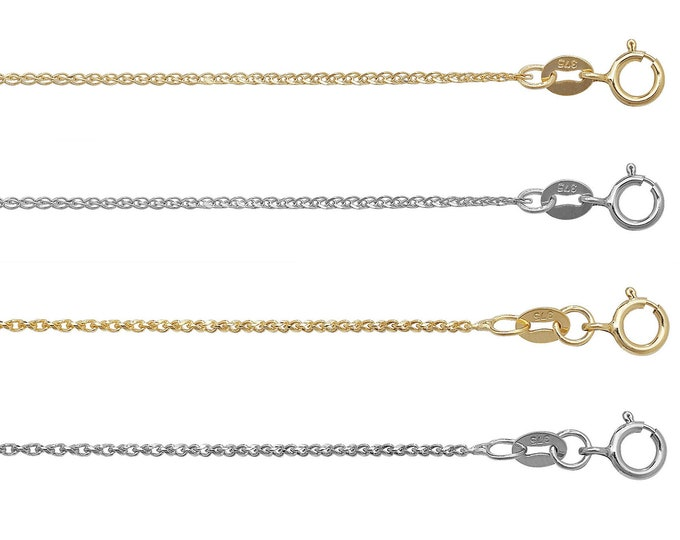 Wheat Chain 9ct Yellow OR White Gold Diamond Cut Single Link  - Choice of Lengths - Real 9K Gold