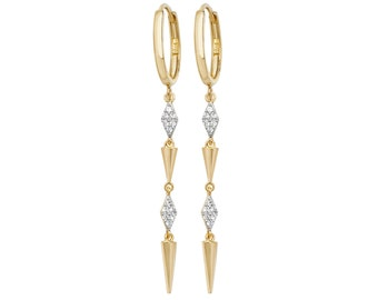 9ct Yellow Gold Hinged Hoop Geometric Diamond Art Deco 4cm Drop Earrings - Real 9K Gold