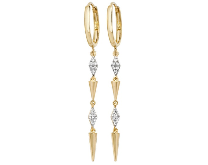 9ct Yellow Gold Hinged Hoop Geometric Diamond Art Deco 4cm Drop Earrings Hallmarked