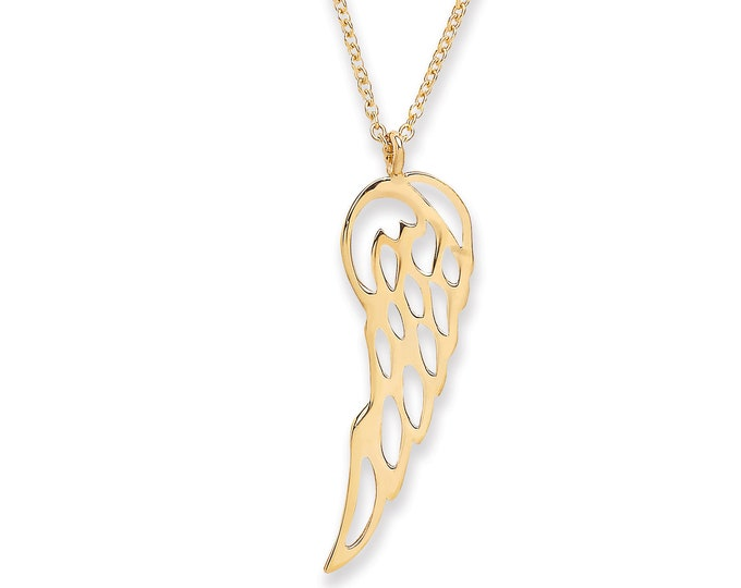 "9ct Yellow Gold 2.5cm Angel Wing Pendant on Adjustable 16""-18"" Rolo Chain Necklace"