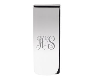 Silver Plated Money Clip - Personalised Engraved Monogram Initials