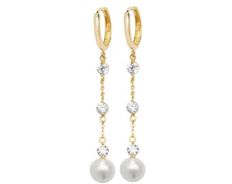 9ct Yellow Gold Hinged Hoop With White Pearl & Cz Chain 4cm Drop Earrings Hallmarked - Real 9K Gold