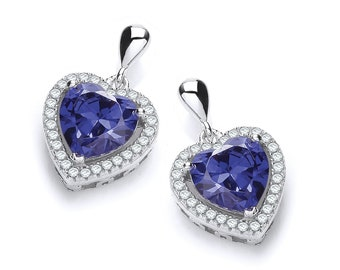 Sterling Silver Micro Pave & Sapphire Blue Heart Cut Cz Stud Drop Earrings