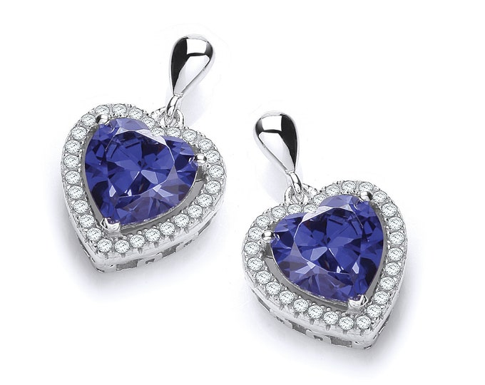 Sterling Silver Micro Pave & Sapphire Blue Heart Cut Cz Stud Drop Earrings