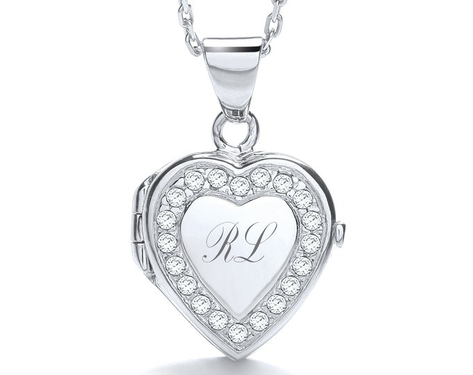 "Personalised Sterling Silver 16""-18"" Micro Pave Cz Border 1.7cm Heart Locket"