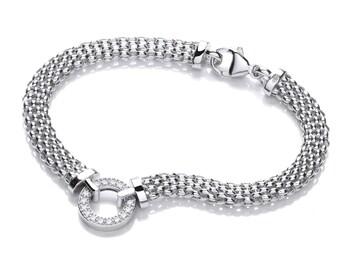 "Sterling Silver 7"" Popcorn Mesh Bracelet With Cz Eternity Bolt Link Ring"