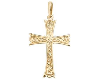 9ct Yellow Gold Medieval Design Cross Pendant 30x20mm