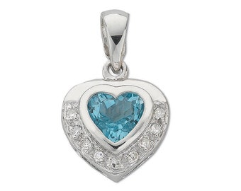 9ct White Gold 1 Carat Blue Heart Topaz Pendant With Diamond Surround - Real 9K Gold