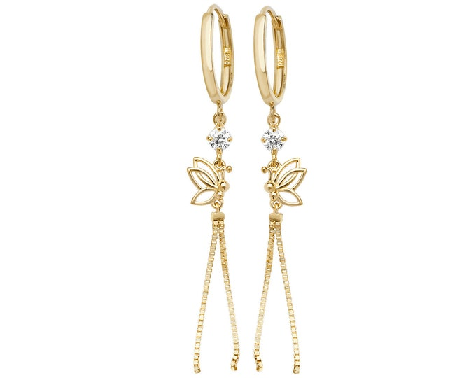 9ct Yellow Gold Hinged Hoop With Butterfly & Tassel 4cm Drop Earrings Hallmarked