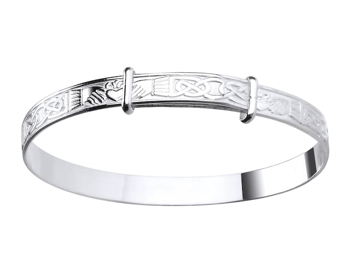 Celtic Claddagh Sterling Silver Expandable Baby Bangle