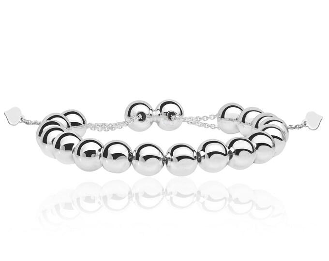 "925 Sterling Silver Chunky Shambala Bead 7"" Friendship Heart Toggle Bracelet"