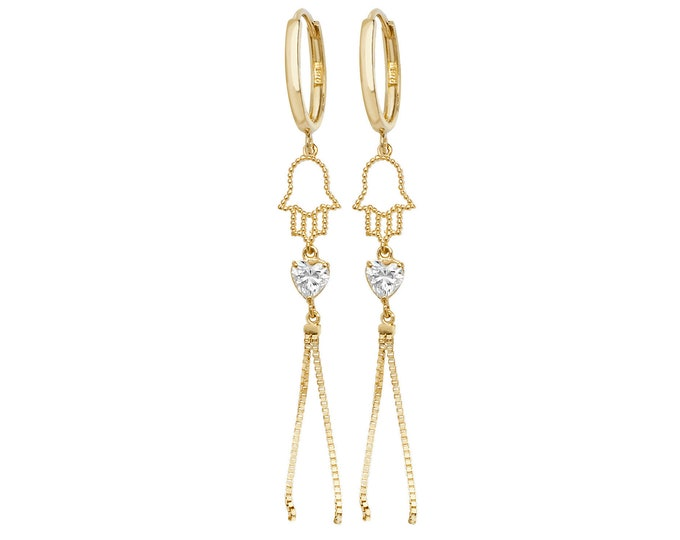 9ct Yellow Gold Hinged Hoop Hamsa Cz Heart Tassel 4cm Drop Earrings Hallmarked