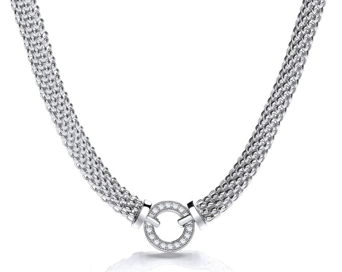 "Sterling Silver 17"" Popcorn Mesh Necklace With Cz Eternity Bolt Link Ring"