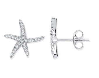 925 Sterling Silver Cz Pave Set 10mm Starfish Stud Earrings