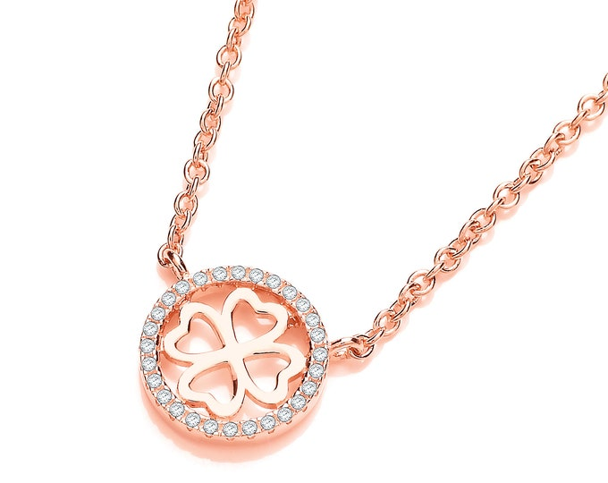 "Rose Gold Plated 925 Sterling Silver Micro Pave Cz Heart4Heart 17"" Necklace"