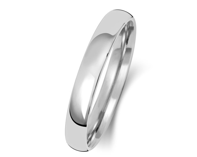 9ct White Gold Modern Slight Court Shape Wedding Ring UK Hallmarked Widths 2mm-8mm Sizes J-Z