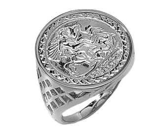 St George & Dragon 925 Sterling Silver Sovereign Coin Ring with Basket Sides