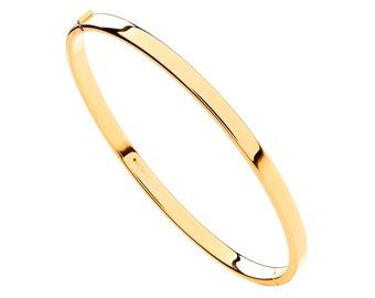 9ct Yellow Gold Hollow Contemporary 4mm Flat Hinged Bangle Hallmarked - Real 9K Gold