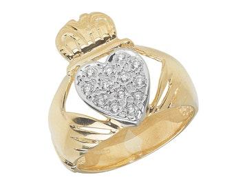 Men's 9ct Yellow Gold Pave Set Cz Heart Irish Claddagh Ring Hallmarked