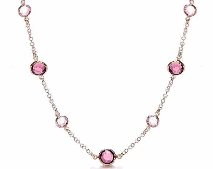 """Rose Gold On 925 Sterling Silver 17"""" Necklace Set With Pink & Purple Cz Stones"""