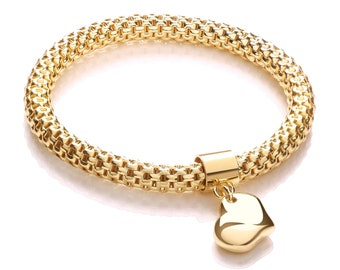 Yellow Gold on 925 Sterling Silver Mesh Link Bracelet With Heart Charm Hallmarked