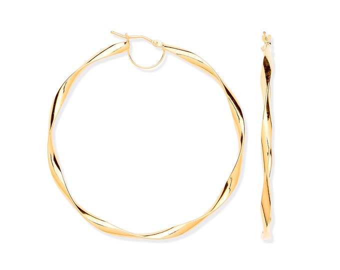 Large 55mm Diameter 9ct Yellow Gold Twisted Ribbon Hoop Earrings Hallmarked