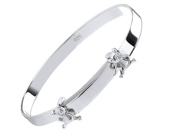 925 Sterling Silver Teddy Bear Expandable Baby Identity Bangle