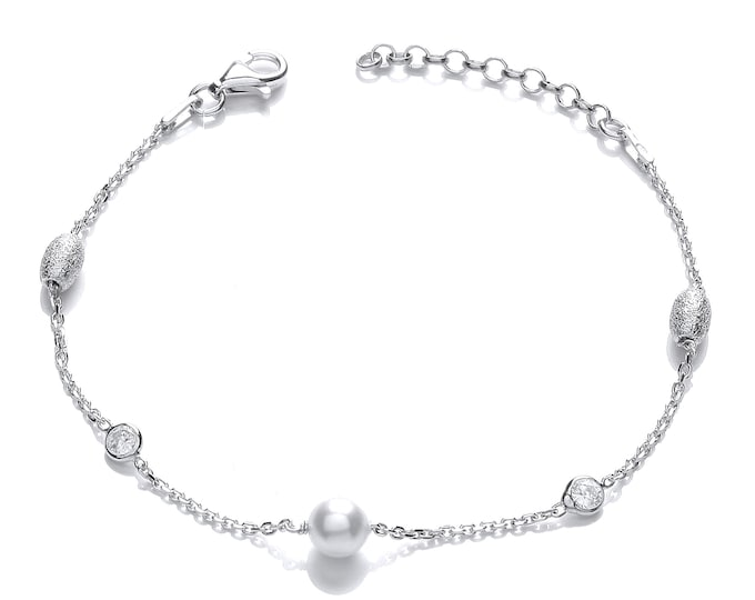 "925 Sterling Silver Crystal, Oval Hammered Bead & White Pearl 7"" Bracelet"