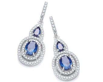 Sterling Silver Pear & Oval Cz Cluster Drop Earrings 32x12mm-Blue-Red