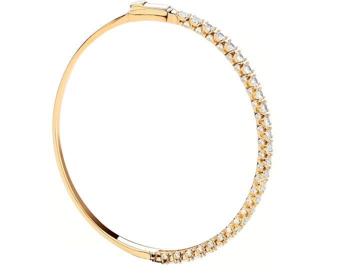 Ladies 9ct Yellow Gold Half Eternity Claw Set Cz Hinged Bangle Hallmarked - Real 9K Gold