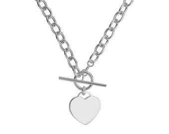 """Sterling Silver 925 Heart Tag Charm T-Bar 17"""" Albert Chain Necklace Hallmarked"""