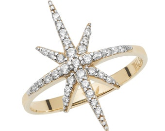 9ct Yellow Gold Eight Pointed Cz Star Ring Hallmarked - Real 9K Gold