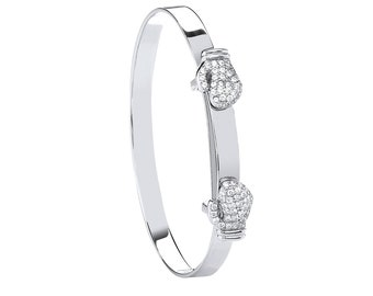 925 Sterling Silver Pave Cz Double Boxing Glove Expandable Baby Identity Bangle