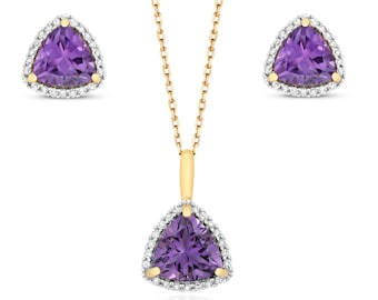 9ct Yellow Gold 0.21ct Diamond Amethyst Trillion Cut Necklace & Stud Earrings Set - Real 9K Gold