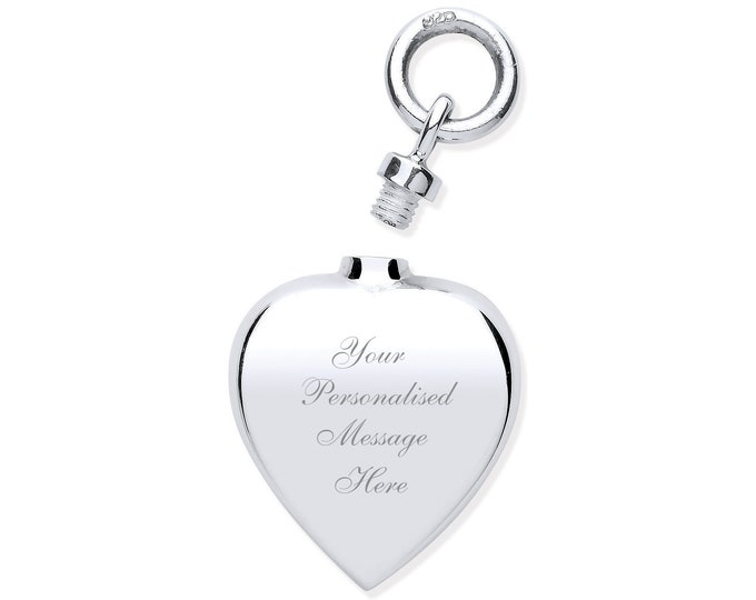 Ashes Memorial Heart Shaped Necklace Locket 925 Sterling Silver - Personalised Engraved Message