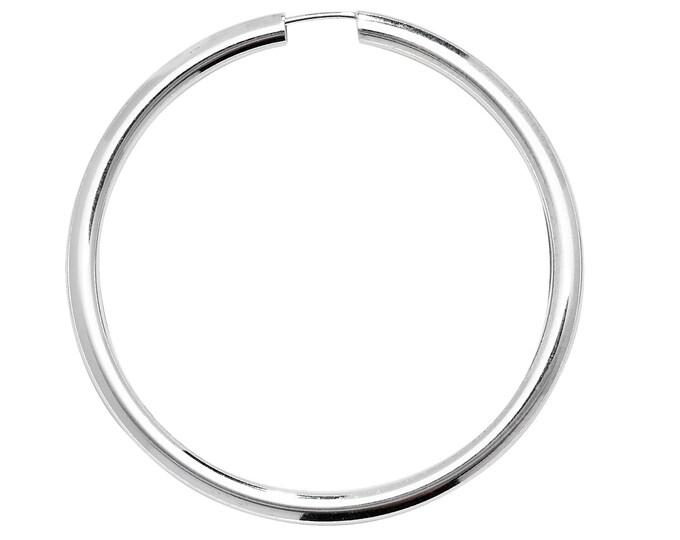 Pair of Sterling Silver 70mm Diameter 2.5mm Tube Threader Sleeper Hoop Earrings