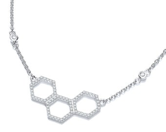 """Micro Pave Cz Honeycomb Design 925 Sterling Silver 17"""" Necklace"""