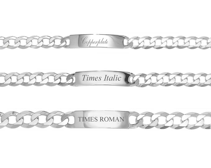 """Men's Personalised 925 Sterling Silver 8"""" ID Curb Chain Bracelet 8mm 10mm 12mm Engraved Name"""